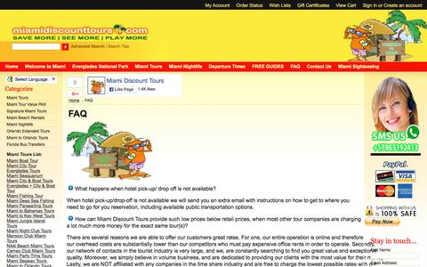 Screenshot of FAQ Page miamidiscounttours.com - Miami Tours   Frequently asked questions - captured June 10, 2017