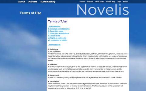 Screenshot of Terms Page novelis.com - Terms of Use - captured Sept. 22, 2014
