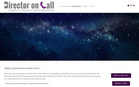 Screenshot of Testimonials Page directoroncall.com - Testimonials — Director On Call - captured Oct. 9, 2018