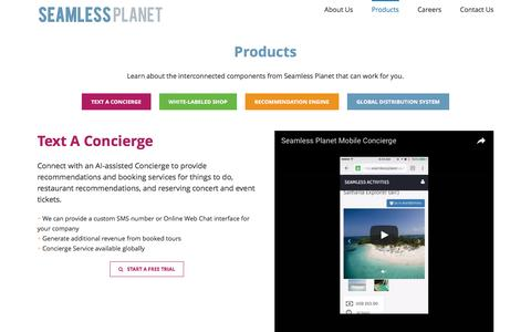 Screenshot of Products Page seamlessplanet.com - Products | Seamless Planet - captured July 23, 2016