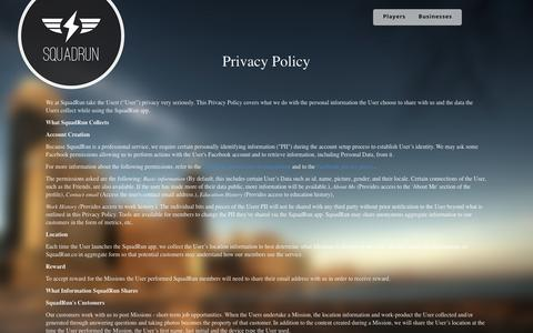 Screenshot of Privacy Page squadrun.co - SquadRun Privacy Policy - captured Sept. 19, 2014