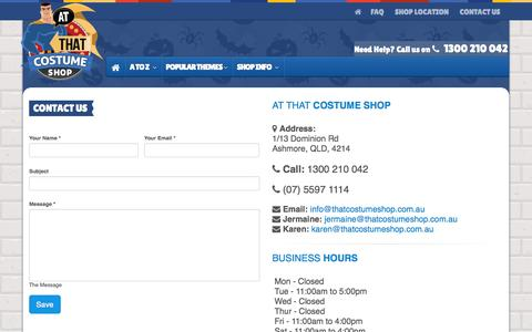 Screenshot of Contact Page thatcostumeshop.com.au - Shop Hours and Contact | Contact Us - At That Costume Shop - captured Nov. 2, 2014