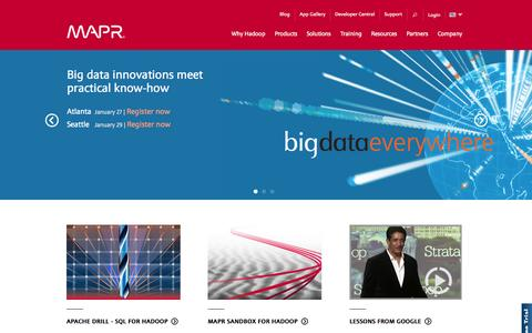 Screenshot of Home Page mapr.com - Apache Hadoop Distribution | MapR - captured Jan. 23, 2015