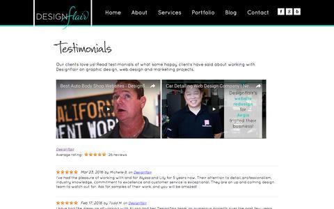 Screenshot of Testimonials Page designflairstudio.com - Best Pleasanton Website Marketing Company   Designflair Reviews - captured Nov. 24, 2016