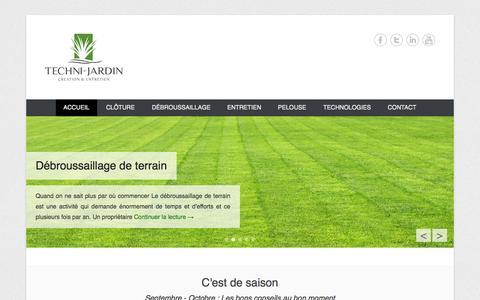 Screenshot of Home Page Menu Page techni-jardin.be - Entreprise de parcs et jardins en Brabant Wallon - Techni-jardin - captured Sept. 30, 2014