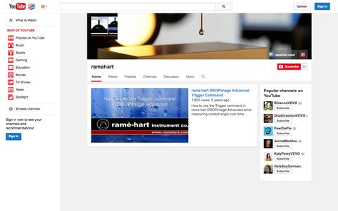 Screenshot of YouTube Page youtube.com - ramehart  - YouTube - captured Nov. 4, 2014