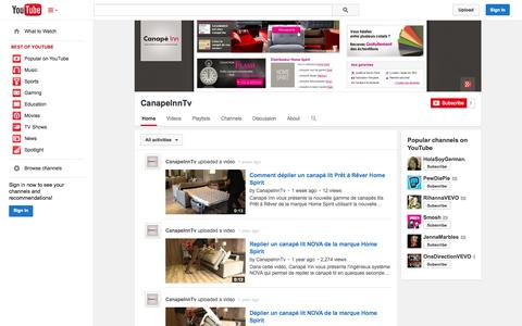 Screenshot of YouTube Page youtube.com - CanapeInnTv  - YouTube - captured Oct. 23, 2014