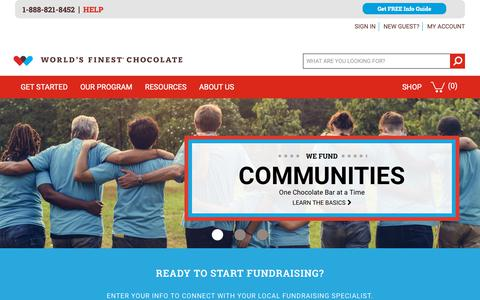 Screenshot of Home Page worldsfinestchocolate.com - World's Finest Chocolate Fundraising |  The Best Value in Fundraising - captured Oct. 2, 2018