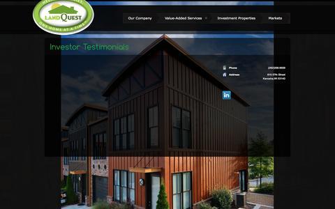 Screenshot of Testimonials Page landquestinvestments.com - Investor Testimonials | Land Quest: Passive Real Estate Investments - captured Nov. 1, 2014
