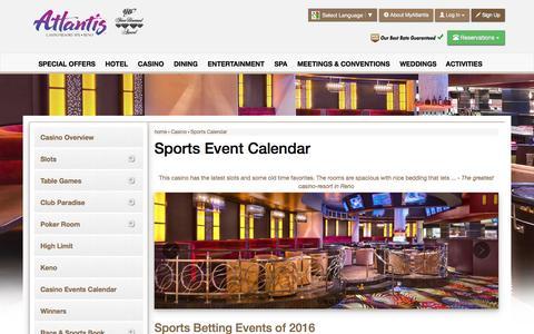 Screenshot of atlantiscasino.com - Atlantis Sports Event Calendar | Reno Sports Betting - captured May 26, 2016