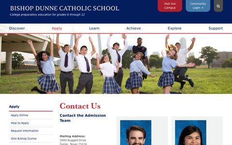 Screenshot of Contact Page bdcs.org - Contact Us - Bishop Dunne Catholic School - captured Jan. 26, 2017