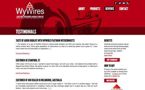 Screenshot of Testimonials Page wywires.com - Testimonials & Benefits of Cables, Interconnects, Phono Cables | WyWires  | Custom Audio Cables | Digital Audio Cables | WyWires - captured Oct. 26, 2014