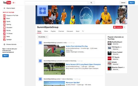 Screenshot of YouTube Page youtube.com - SummitSportsGroup  - YouTube - captured Oct. 25, 2014