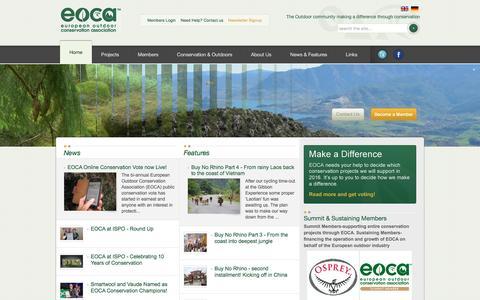 Screenshot of Home Page outdoorconservation.eu - European Outdoor Conservation Association | EOCA | Conservation Funding | Conservation Grants - captured March 8, 2016