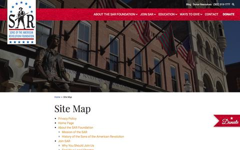 Screenshot of Site Map Page sarfoundation.org - Site Map - Sons of the American Revolution Foundation - captured July 25, 2018