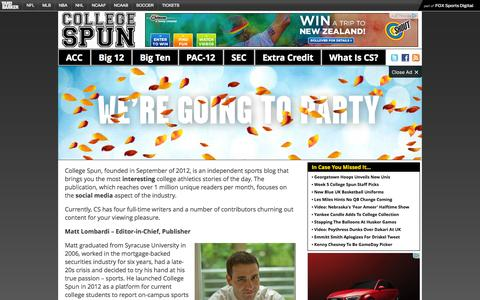 Screenshot of About Page collegespun.com - What Is College Spun? | College Spun – Social. Local. Consumable. College Sports. - captured Sept. 25, 2014