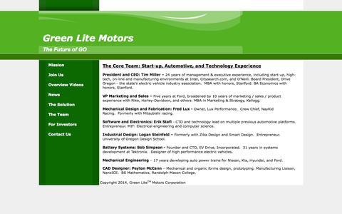 Screenshot of Team Page greenlitemotors.com - Green Lite Motors - captured Oct. 3, 2014