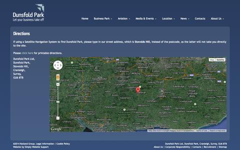 Screenshot of Maps & Directions Page dunsfoldpark.com - Directions to Dunsfold Park - Business Park, Aviation & Events Surrey - captured Oct. 5, 2014