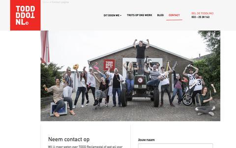 Screenshot of Contact Page todd.nl - Contact pagina - TODD Reclamestal - captured Oct. 24, 2017