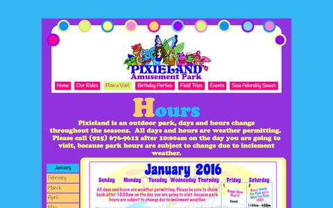 Screenshot of Hours Page pixieland.com - Hours - captured March 2, 2016