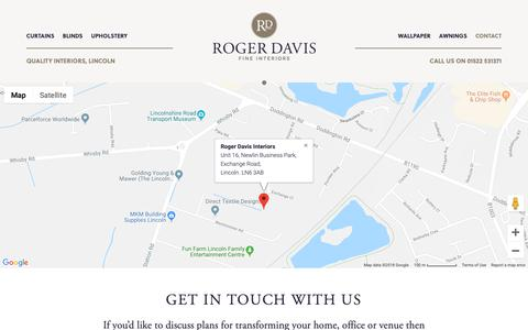 Screenshot of Contact Page rogerdavisinteriors.com - Contact Roger Davis Interiors 01522 531371 | Lincs LN6 3AB - captured Oct. 20, 2018