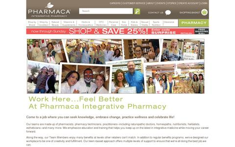 Screenshot of Jobs Page pharmaca.com - Work here, feel better at Pharmaca Integrative Pharmacy - captured July 19, 2014