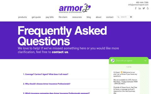 Screenshot of FAQ Page armorinsprof.com - Frequently Asked Questions | Armor Insurance Professionals - captured Oct. 4, 2018