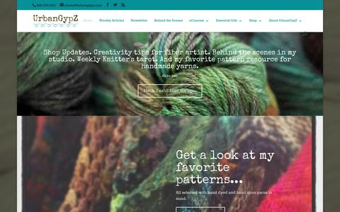 Screenshot of Home Page urbangypz.com - UrbanGypZ Handspun Art Yarn + Hand Dyed Yarn + Fiber Art Courses - captured Jan. 15, 2016
