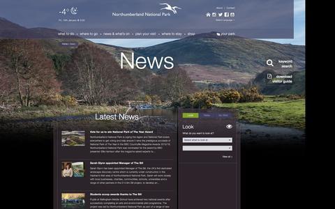 Screenshot of Press Page northumberlandnationalpark.org.uk - News - Northumberland National Park - captured Jan. 14, 2016