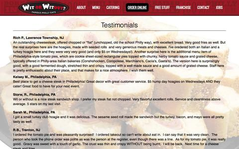 Screenshot of Testimonials Page witorwitout.com - Wit or Witout | Famous Philly Eats | Hamilton, NJ - captured Feb. 10, 2016