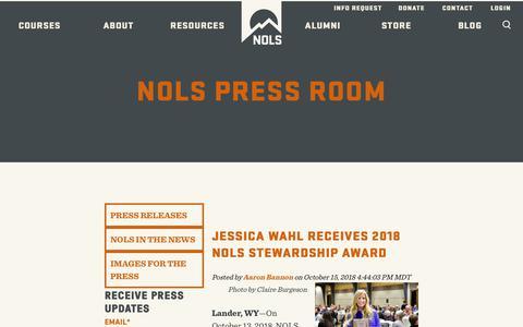 Screenshot of Press Page nols.edu - NOLS Press Room - captured Oct. 18, 2018