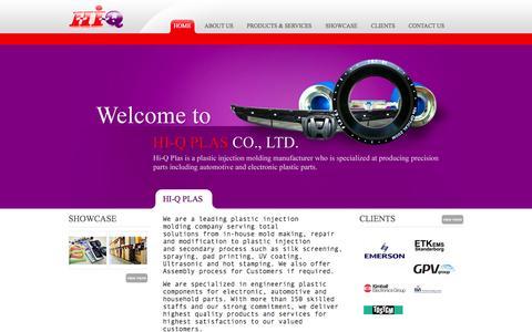 Screenshot of Home Page hiqplas.com - Plastic Injection Molding Manufacturer | www.hiqplas.com - captured Oct. 2, 2014