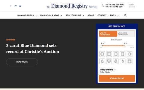 Screenshot of Press Page diamondregistry.com - News - Diamond Registry - captured April 20, 2018
