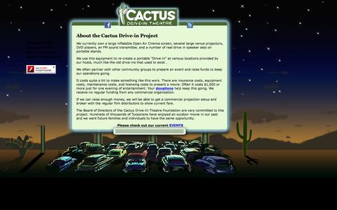 Screenshot of About Page cactusdriveintheatre.com - Cactus Drive-in Theater in Tucson Arizona - captured Jan. 24, 2016