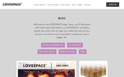 Screenshot of Blog lovespace.co.uk - The LOVESPACE blog - Live a bigger life, one box at a time | LOVESPACE - captured July 19, 2014