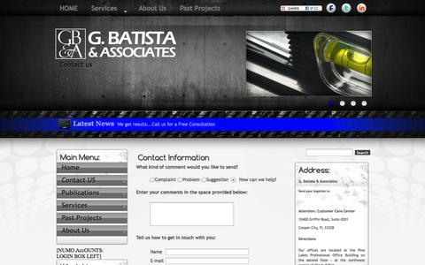 Screenshot of Contact Page Maps & Directions Page gbanda.com - Contact Us - captured Oct. 1, 2014