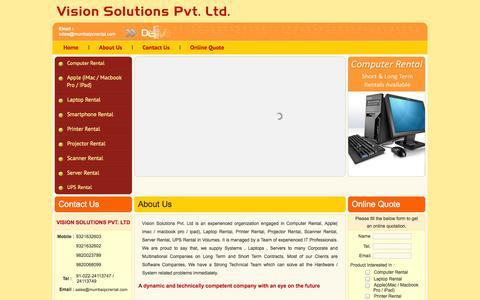 Screenshot of About Page mumbaipcrental.com - Computer Rental Mumbai, Laptop Rental Mumbai, Server Rental Mumbai - captured Oct. 26, 2014