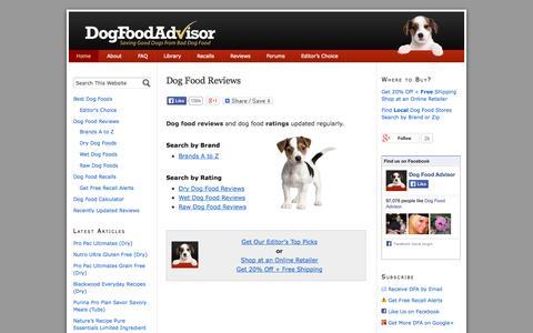 Screenshot of Home Page dogfoodadvisor.com - Dog Food Reviews and Ratings | Dog Food Advisor - captured Sept. 18, 2014