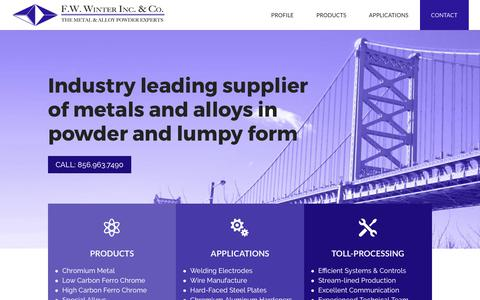 Screenshot of Home Page fwwinter.com - F.W. Winter Inc. & Co. | The Metal & Alloy Powder Experts - captured Oct. 5, 2017