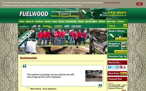 Screenshot of Testimonials Page fuelwood.co.uk - Testimonials - captured Oct. 6, 2014