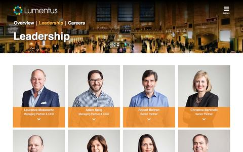Screenshot of Team Page lumentus.com - Company Leadership - Lumentus - captured Dec. 14, 2015