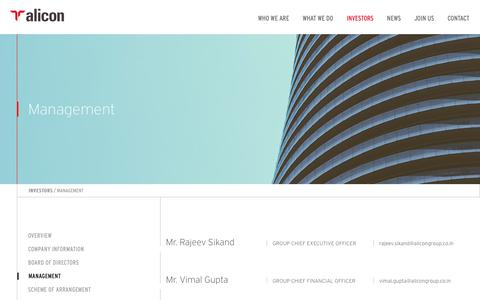 Screenshot of Team Page alicongroup.co.in - Management – Alicon Group - captured Dec. 15, 2018