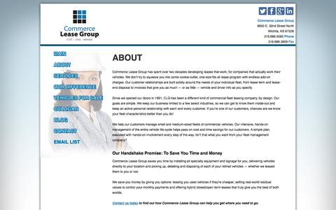 Screenshot of About Page commerceleasegroup.com - About Commerce Lease Group Fleet Leasing - captured Oct. 28, 2014