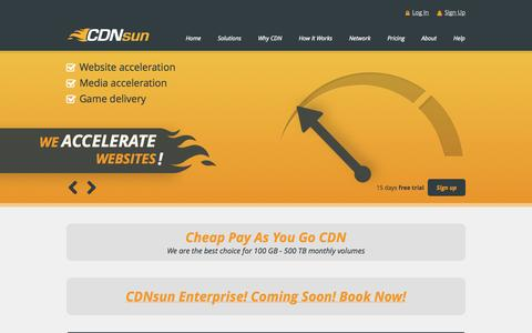 Screenshot of Pricing Page cdnsun.com - Cheap CDN - PAYG Pricing | CDNsun - captured Sept. 23, 2014