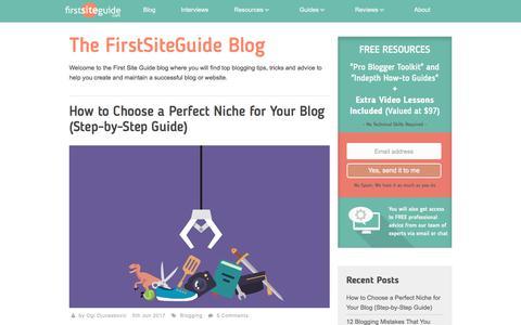 Screenshot of Blog firstsiteguide.com - First Site Guide Blog - captured June 6, 2017
