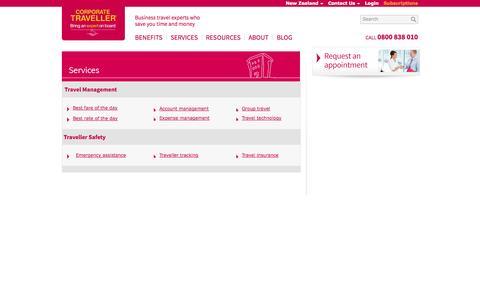 Screenshot of Services Page corporatetraveller.co.nz - Corporate & Business Travel Services   Corporate Traveller - captured Oct. 3, 2014