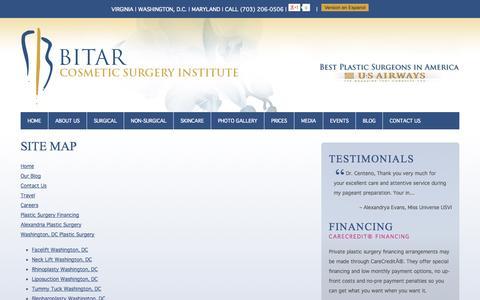 Screenshot of Site Map Page bitarinstitute.com - Sitemap | Bitar Cosmetic Surgery Institute - captured Sept. 19, 2014