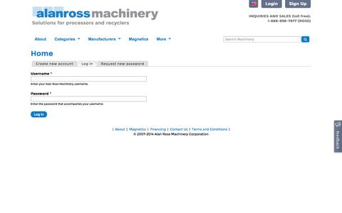Screenshot of Login Page alanross.biz - Home | Alan Ross Machinery - captured Nov. 2, 2014