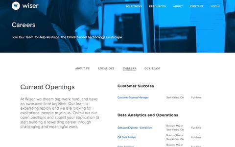 Screenshot of Jobs Page wiser.com - Careers - Wiser Solutions, Inc. - captured Jan. 6, 2018
