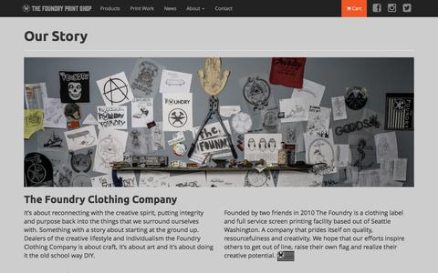 Screenshot of About Page thefoundryclothing.com - About - captured Feb. 28, 2016